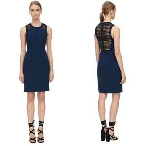 NEW Rebecca Taylor Shift Dress With Lace Navy 4